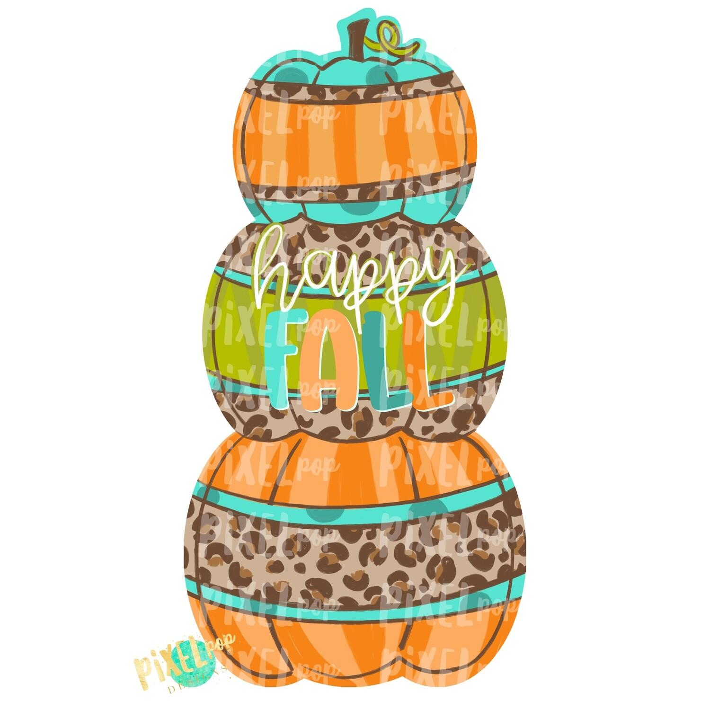 Stacked Pumpkin Trio Leopard Hello Fall Design | Sublimation Art | Hand Painted Digital Art | Digital Download | Printable Art | Pumpkin