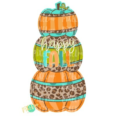 Stacked Pumpkin Trio Leopard Hello Fall Design | Sublimation Art | Hand Painted Digital Art | Digital Download | Printable Art | Pumpkin