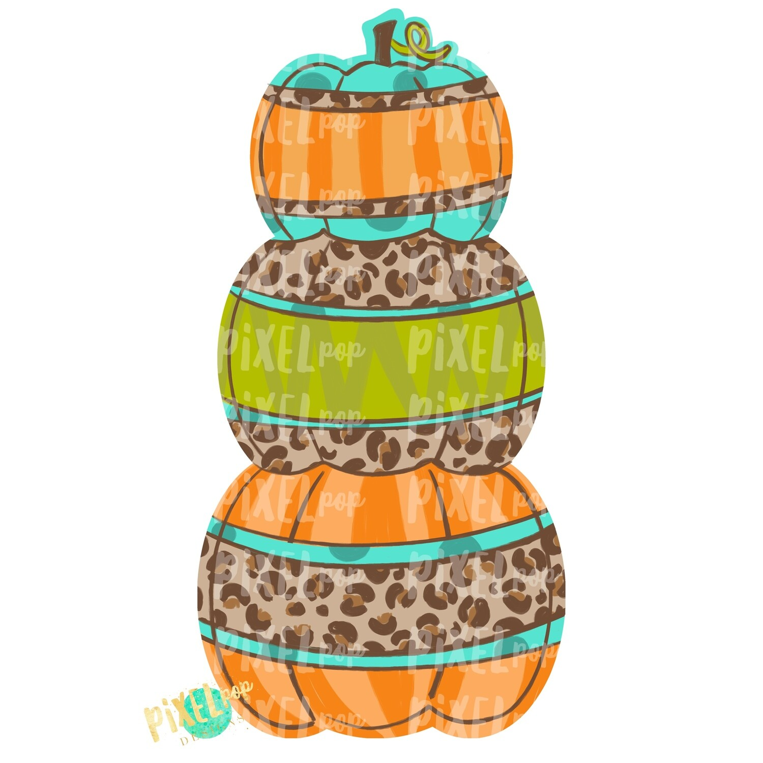 Stacked Pumpkin Trio Leopard Print Fall Design | Sublimation Art | Hand Painted Digital Art | Digital Download | Printable Art | Pumpkin