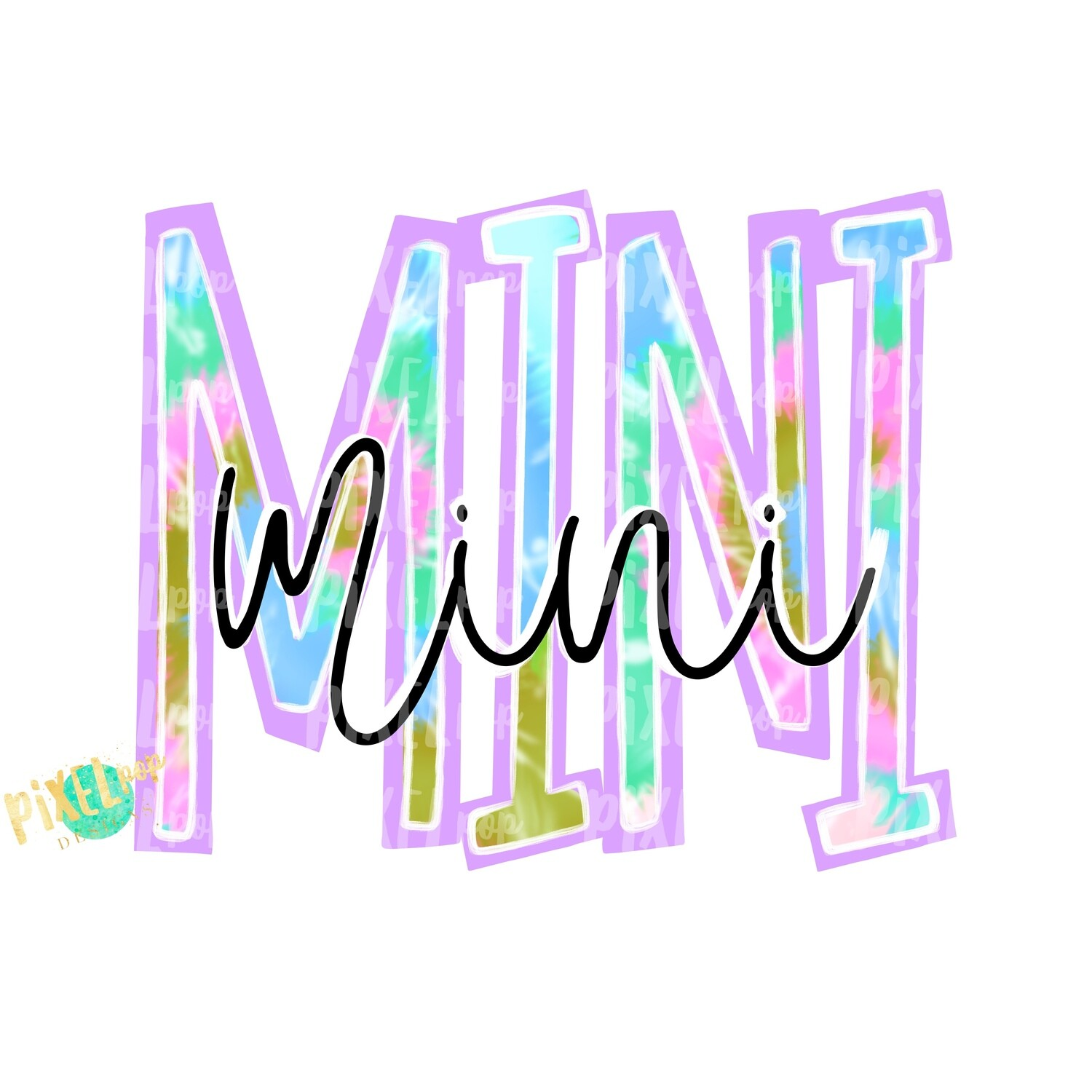 Mini on Mini Tie Dye Lilac Design PNG | Sublimation Design | Hand Drawn PNG | Sublimation PNG | Digital Download | Mother's Day | Clip Art