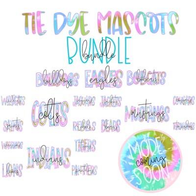 Tie Dye Mascot Names Bundle - 26 Files