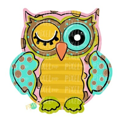 Pink and Mint Owl PNG | Owl Sublimation | Owl Design | Hand Painted Digital Art | Owl | Printable Art | Digital Download | Printable | Art
