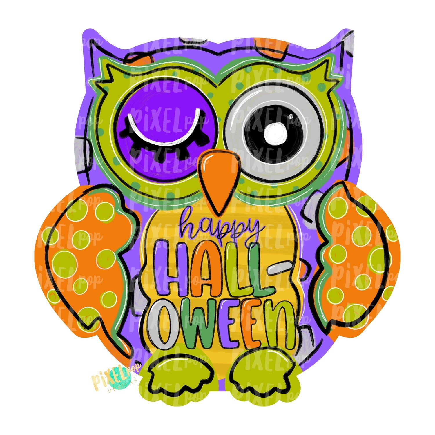 Happy Halloween Owl PNG | Owl Sublimation | Owl Design | Hand Painted Digital Art | Owl | Printable Art | Digital Download | Printable | Art