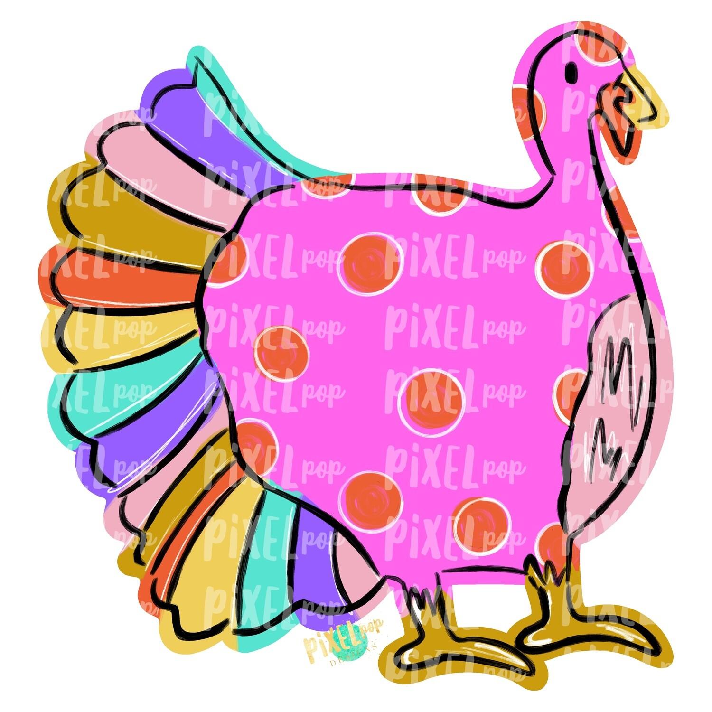 Pink Turkey PNG | Turkey Sublimation | Hand Painted Digital Art | Sublimation Art | Thanksgiving | Digital Download | Printable Artwork
