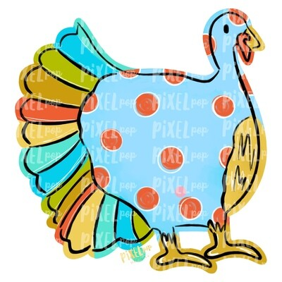 Blue Turkey PNG | Turkey Sublimation | Hand Painted Digital Art | Sublimation Art | Thanksgiving | Digital Download | Printable Artwork