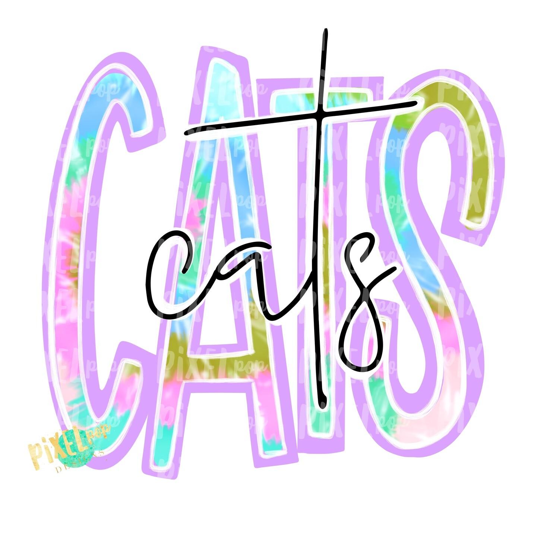 Cats Tie Dye Mascot PNG | Cats Sublimation Design | Team Spirit Design | Cats Clip Art | Digital Download | Printable Artwork | Sports Art