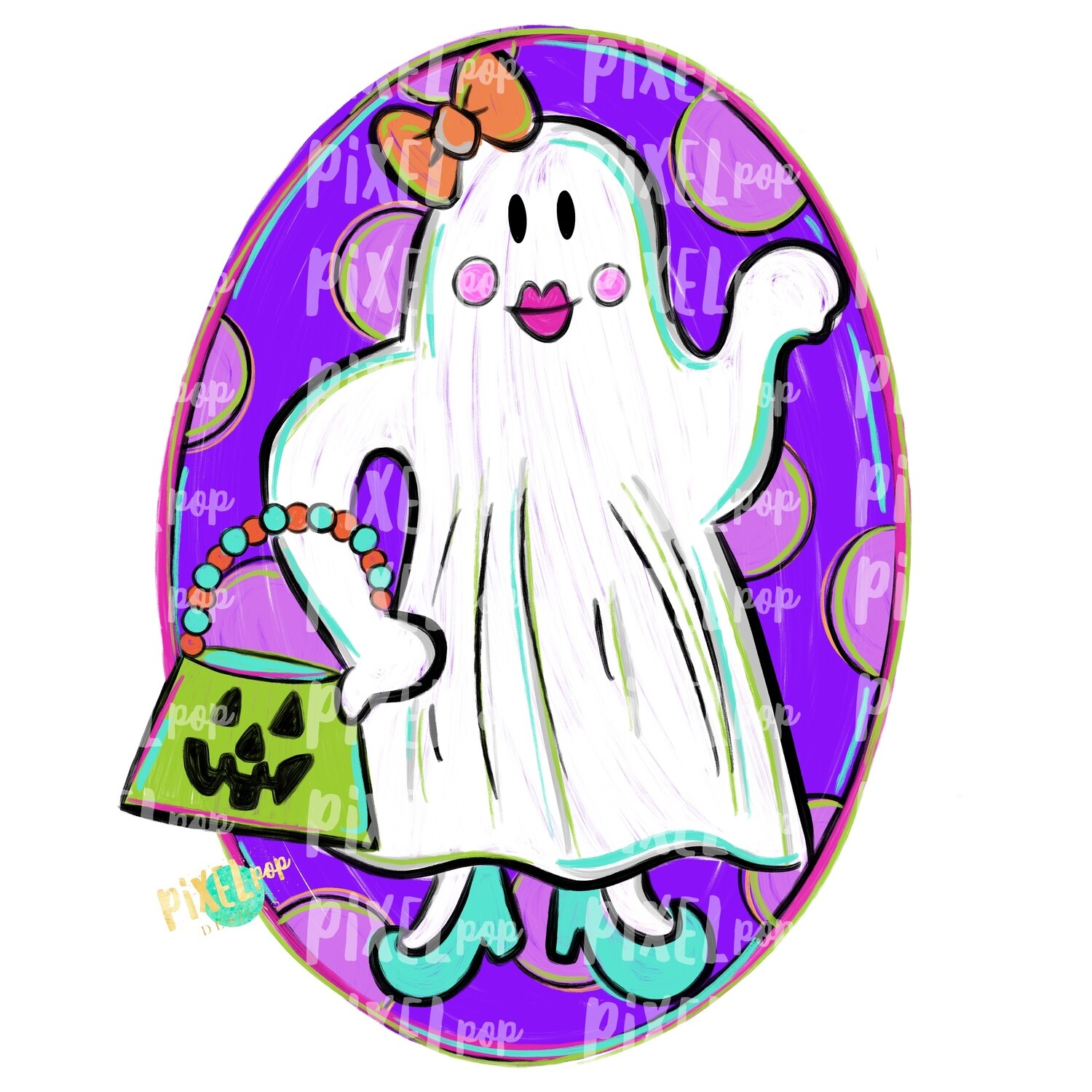 Sassy Ghost Girl PNG | Ghost Sublimation Design | Halloween Design | Hand Painted Sublimation PNG | Digital Art | Halloween Ghost Art Design