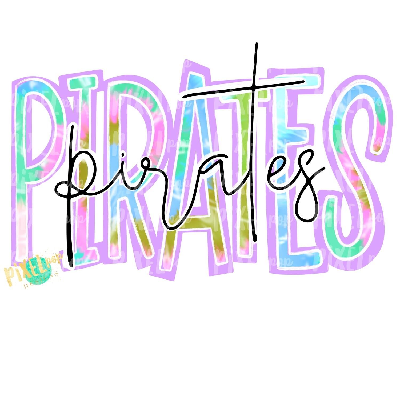 Pirates Tie Dye Mascot PNG | Pirates Sublimation Design | Team Spirit Design | Pirates Clip Art | Digital Download | Printable Artwork