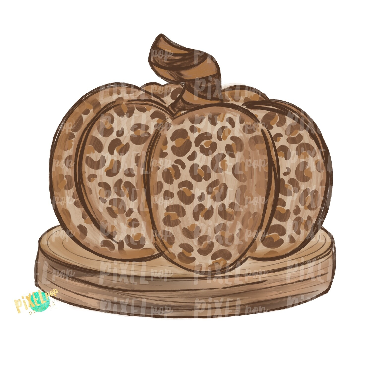 Leopard Print Pumpkin on Wood Slice PNG | Cheetah Print Pumpkin |Hey Pumpkin Orange Colorful Pumpkin PNG | Hand Painted Art | Fall Design | Fall Art | Sublimation PNG | Digital Art | Printable Artwork