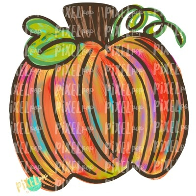 Orange Colorful Pumpkin PNG   Hand Painted Art   Fall Design   Fall Art   Sublimation PNG   Digital Art   Printable Artwork