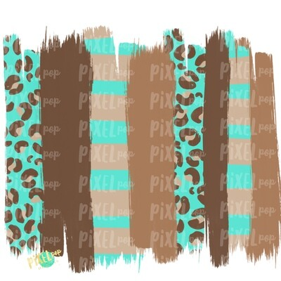 Leopard Teal and Brown Brush Stroke PNG | Paint Strokes Design | Hand Painted | Digital Background | Sublimation | Printable