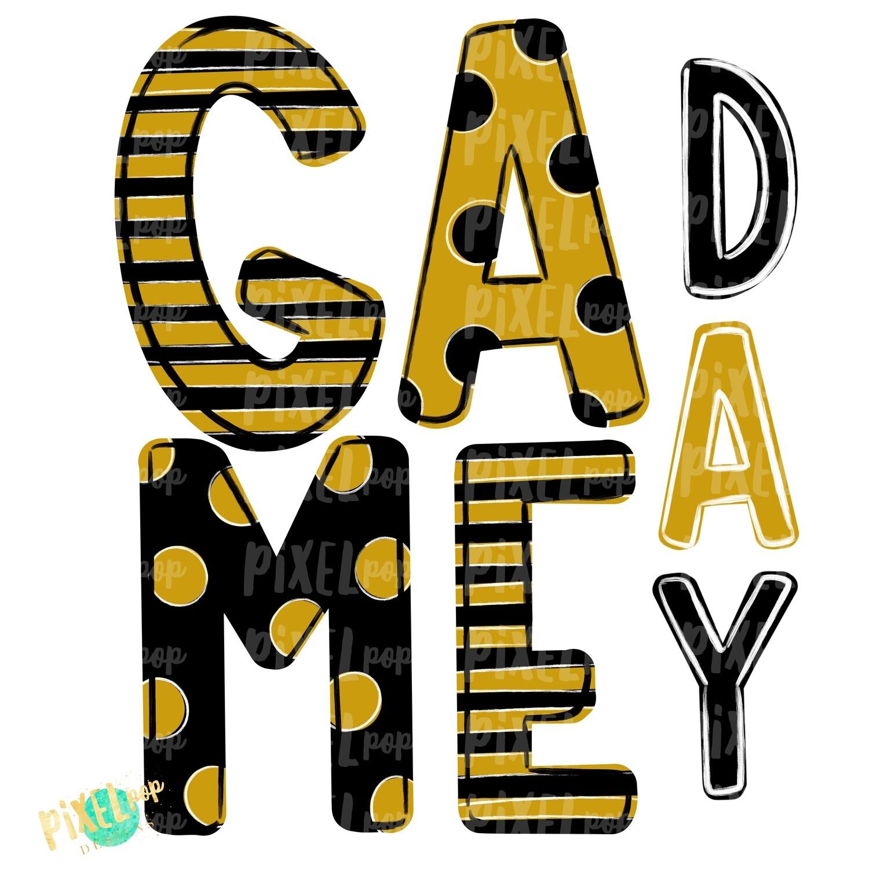 Game Day Black Gold PNG | Spirit Sublimation Design | School Spirit | Game Day Design | School Clip Art | Sports Design