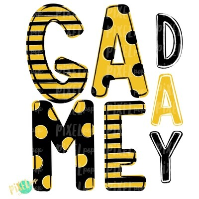 Game Day Black Yellow PNG | Spirit Sublimation Design | School Spirit | Game Day Design | School Clip Art | Sports Design