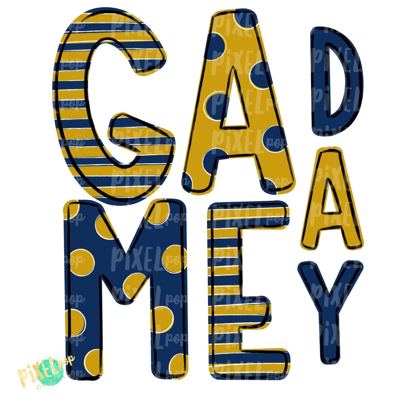 Game Day Navy Gold PNG   Spirit Sublimation Design   School Spirit   Game Day Design   School Clip Art   Sports Design