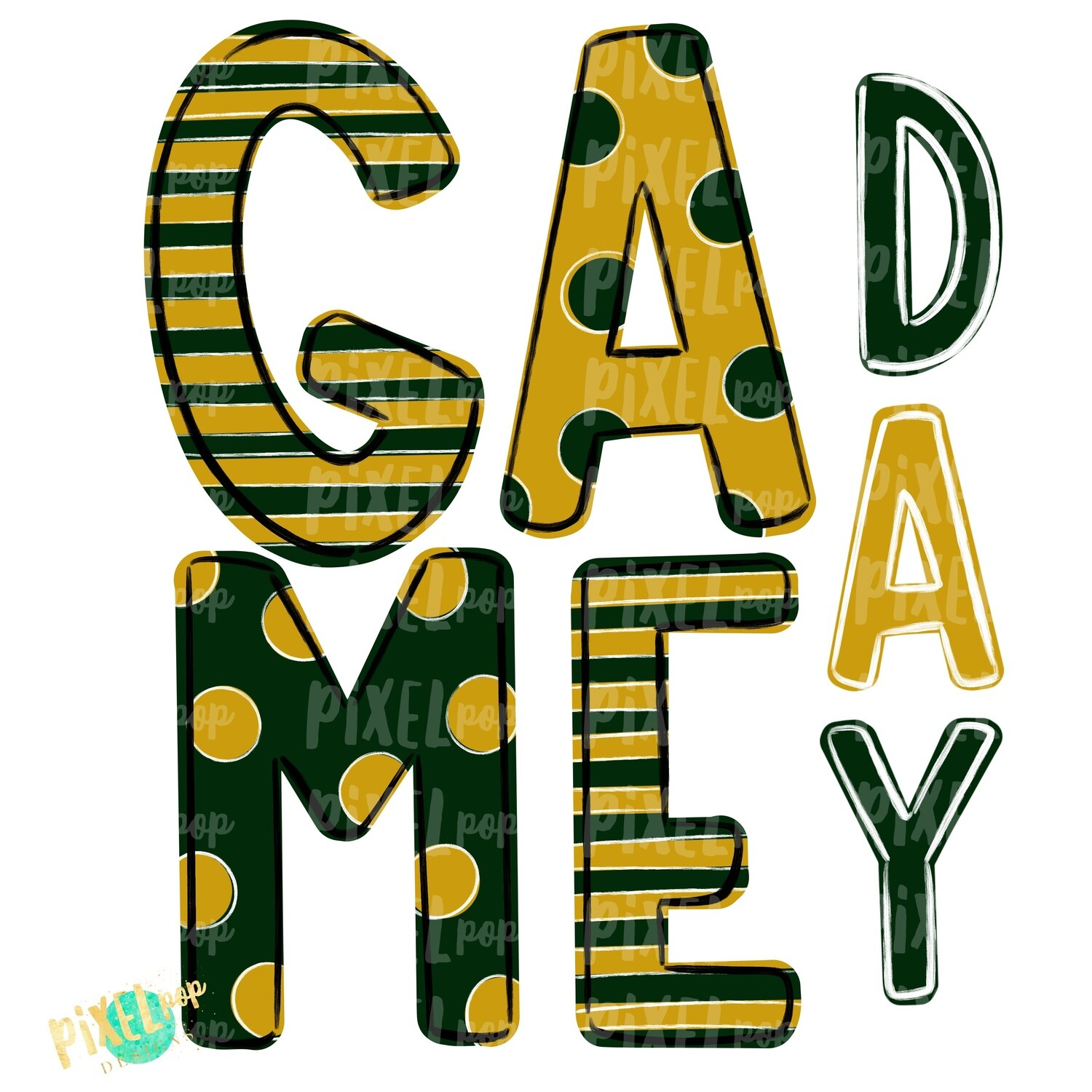 Game Day Dark Green Gold PNG | Spirit Sublimation Design | School Spirit | Game Day Design | School Clip Art | Sports Design