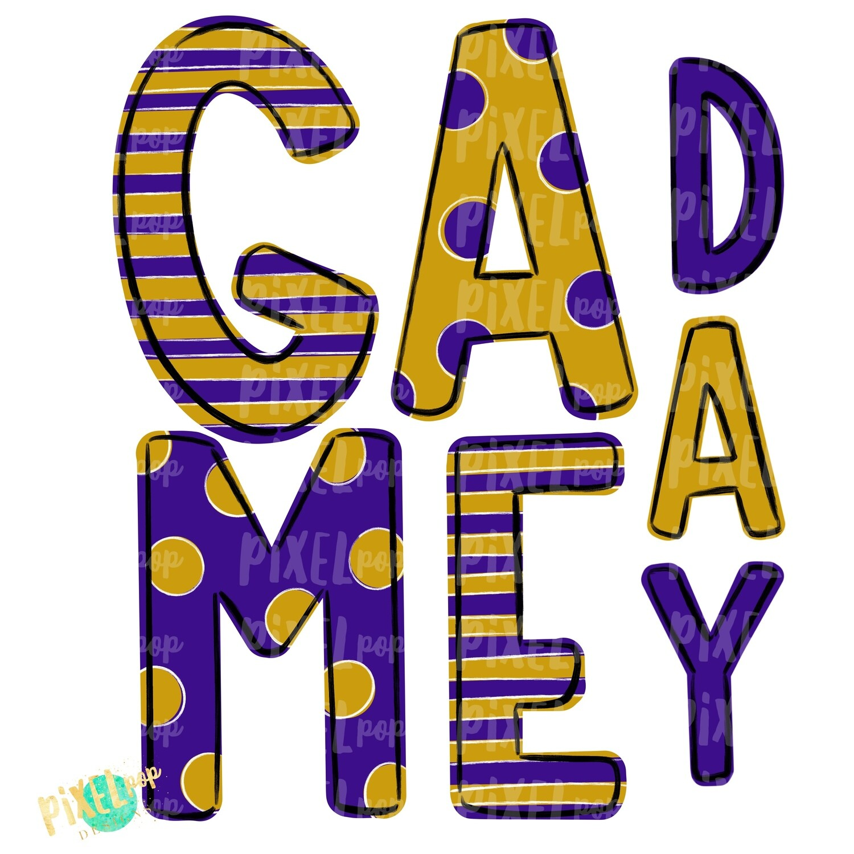 Game Day Purple Gold PNG | Spirit Sublimation Design | School Spirit | Game Day Design | School Clip Art | Sports Design