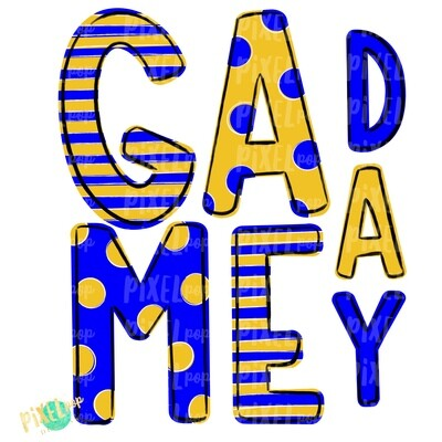 Game Day Blue Yellow PNG | Spirit Sublimation Design | School Spirit | Game Day Design | School Clip Art | Sports Design