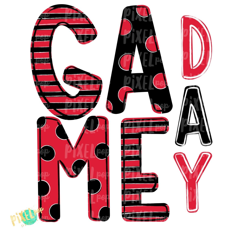Game Day Red Black PNG | Spirit Sublimation Design | School Spirit | Game Day Design | School Clip Art | Sports Design