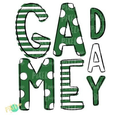 Game Day Green White PNG | Spirit Sublimation Design | School Spirit | Game Day Design | School Clip Art | Sports Design