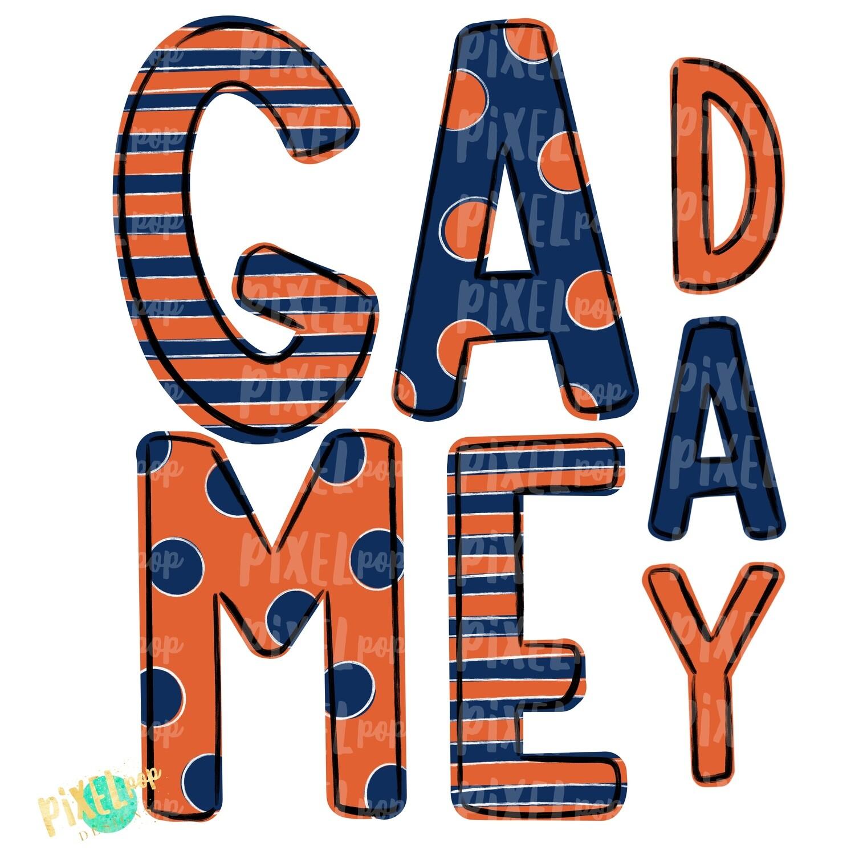 Game Day Navy Orange PNG | Spirit Sublimation Design | School Spirit | Game Day Design | School Clip Art | Sports Design