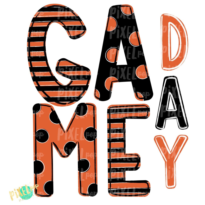 Game Day Black Orange PNG   Spirit Sublimation Design   School Spirit   Game Day Design   School Clip Art   Sports Design