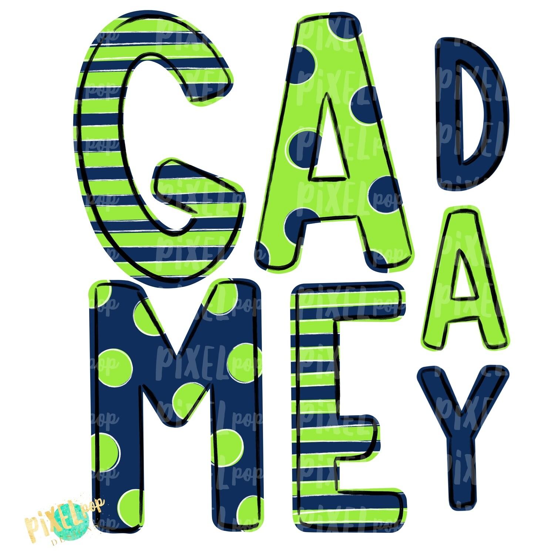 Game Day Navy Lime Green PNG | Spirit Sublimation Design | School Spirit | Game Day Design | School Clip Art | Sports Design