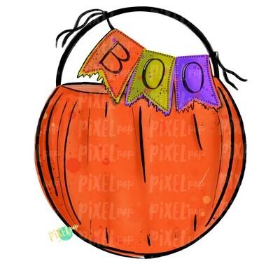 Pumpkin Bucket with Boo Banner PNG | Halloween Design | Hand PaintedDesign | Sublimation PNG | Digital Download | Printable Artwork | Art