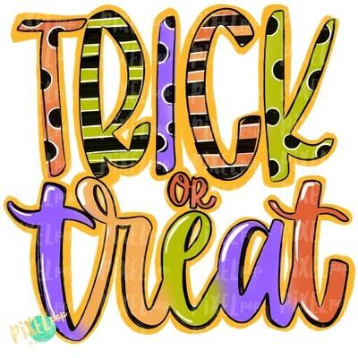 Trick or Treat Ombre PNG | Halloween Design | Hand Painted Design | Sublimation PNG | Digital Download | Printable Artwork | Halloween Art