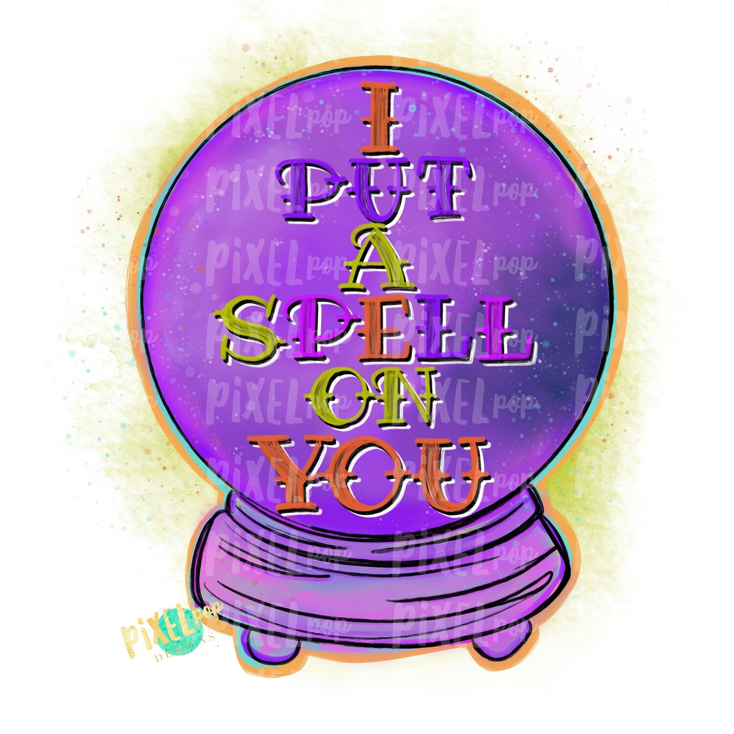 I Put A Spell on You Crystal Ball PNG   Halloween Sublimation Design   Witch Sublimation PNG   Digital Download   Printable Artwork   Art