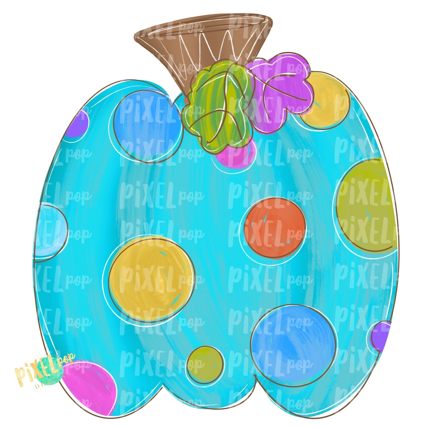 Colorful Polka Dot Pumpkin Turquoise PNG | Halloween Design | Fall Design | Fall Art | Sublimation PNG | Digital Art | Printable Artwork