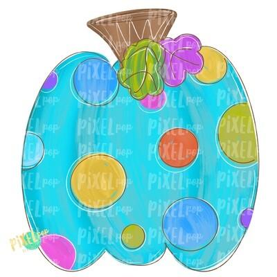 Colorful Polka Dot Pumpkin Turquoise PNG | Halloween Design | Fall Design | Fall Art | Sublimation PNG | Digital Art | Printable Artwork