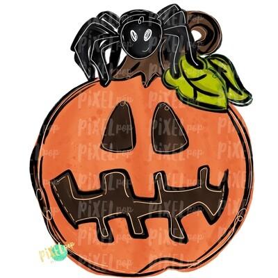 Jack-o-Lantern with Spider PNG | Halloween Pumpkin Design | Halloween Clip art | Sublimation PNG | Digital Download | Printable Art | Art