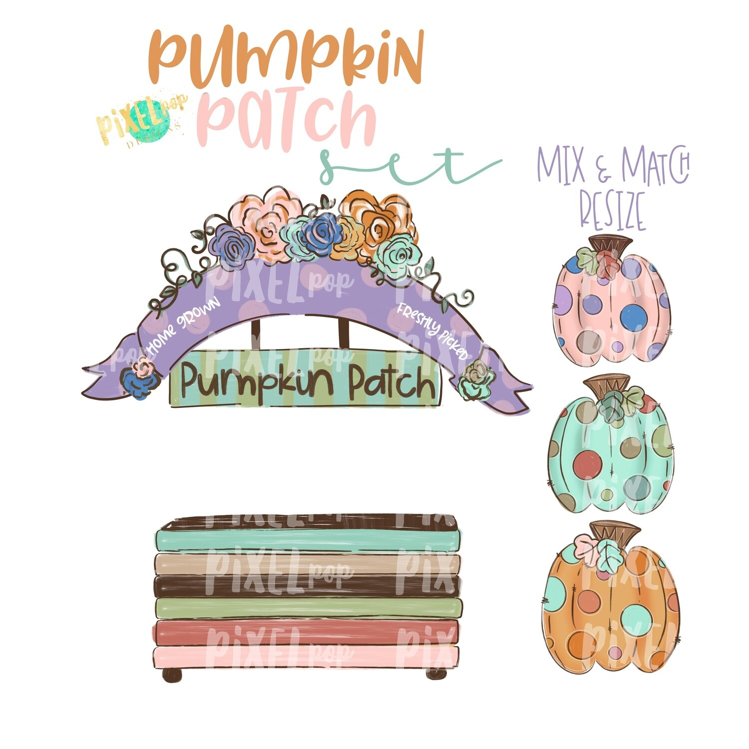 Pumpkin Patch PNG Set with Pumpkin Stand and Pumpkins | Pumpkin Patch Set | Sublimation PNG | Fall | Digital Download | Printable Artwork