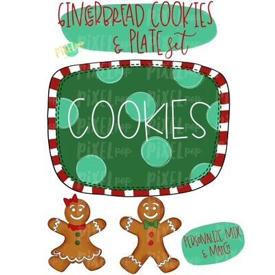 Gingerbread Cookie Platter Set | Personalize and Mix Match | Christmas Cookies | Sublimation PNG | Digital Download | Printable Artwork
