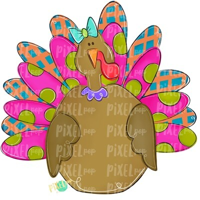 Large Girl Turkey PNG | Turkey Sublimation | Painted Digital Art | Sublimation Art | Thanksgiving | Digital Download | Printable Artwork
