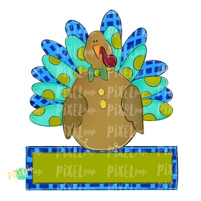 Large Boy Turkey with Word Plate PNG | Turkey Sublimation | Painted Digital Art | Sublimation Art | Thanksgiving | Digital Download | Art
