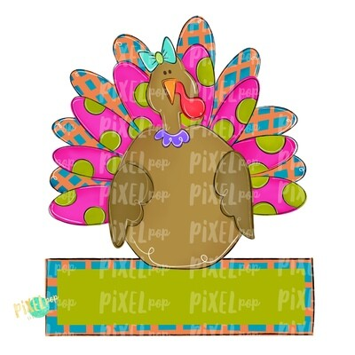 Large Girl Turkey with Word Plate PNG | Turkey Sublimation | Painted Digital Art | Sublimation Art | Thanksgiving | Digital Download | Art