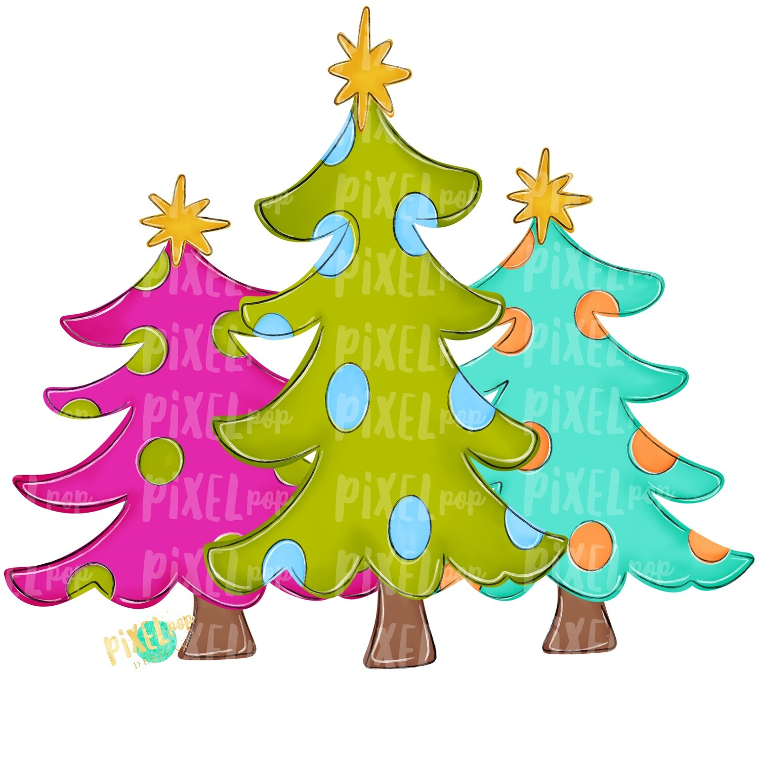 Christmas Trees Bright PNG | Christmas Sublimation | Hand Painted Digital Design | Digital Download | Printable Artwork | Christmas Art