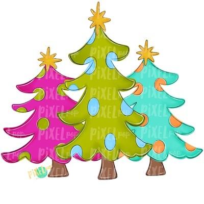 Christmas Trees Bright PNG | Christmas Sublimation | Hand Painted Digital Design | Digital Download | Printable Artwork | Christmas Art