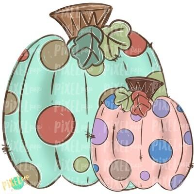 Pretty Polka Dot Pumpkins PNG | Fall Design | Sublimation | Hand Drawn Design | Sublimation PNG | Digital Download | Printable Artwork | Art
