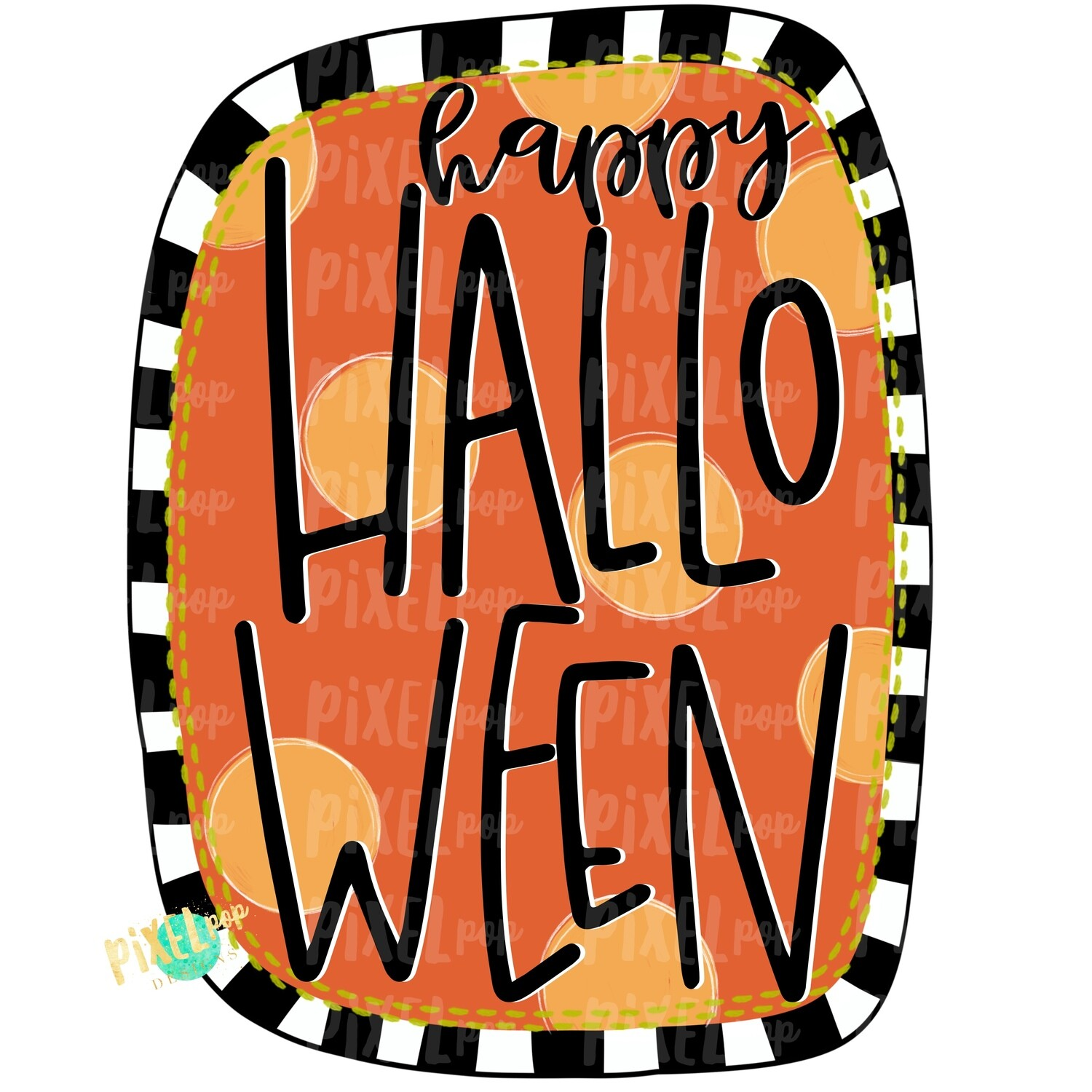Happy Halloween Dots and Stripes PNG | Halloween Sublimation | Digital Art | Owl | Printable Art | Digital Download | Printable | Art