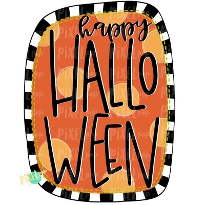 Happy Halloween Dots and Stripes PNG | Halloween Sublimation | Digital Art | Owl | Printable Art | Digital Download | Printable | Art
