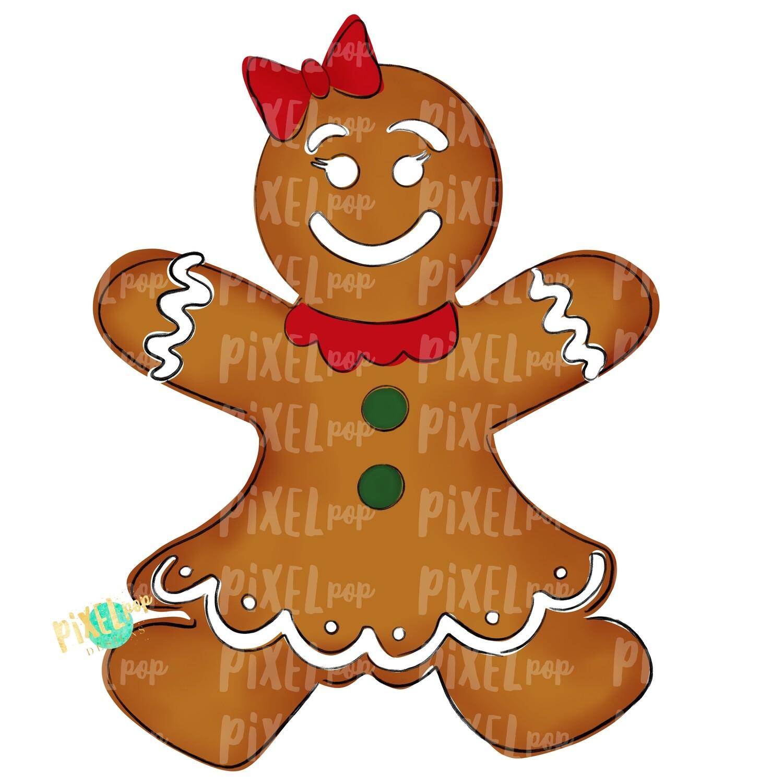 Gingerbread Girl Large PNG | Christmas Sublimation | Christmas Cookie PNG Design | Christmas Clipart | Digital Download | Printable Artwork