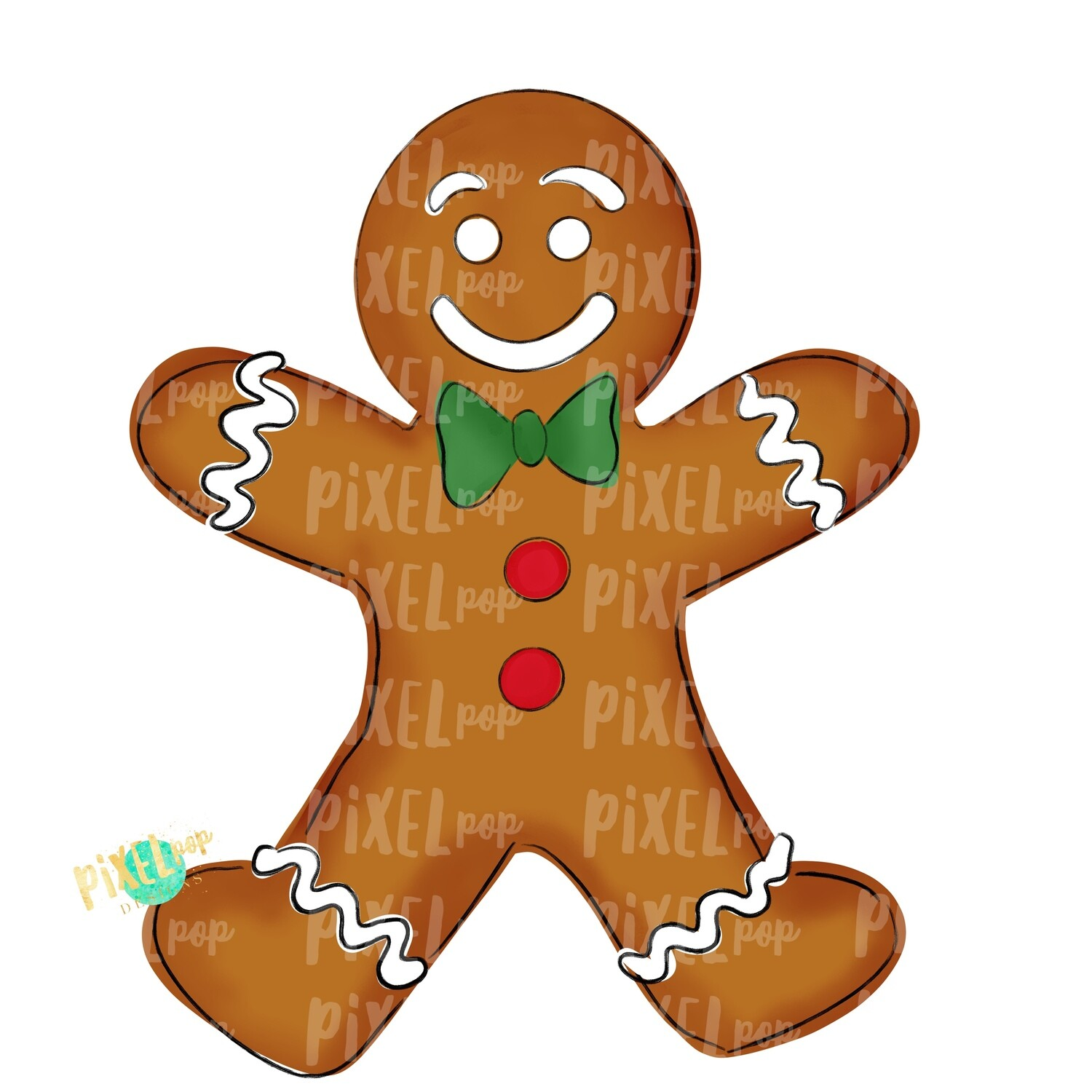Gingerbread Boy Large PNG | Christmas Sublimation | Christmas Cookie PNG Design | Christmas Clipart | Digital Download | Printable Artwork