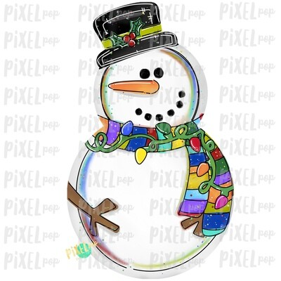 Bright Lights Snowman PNG | Sublimation Design | Snowman Clip Art Design | Printable | Digital Download | Hand Painted Digital Art