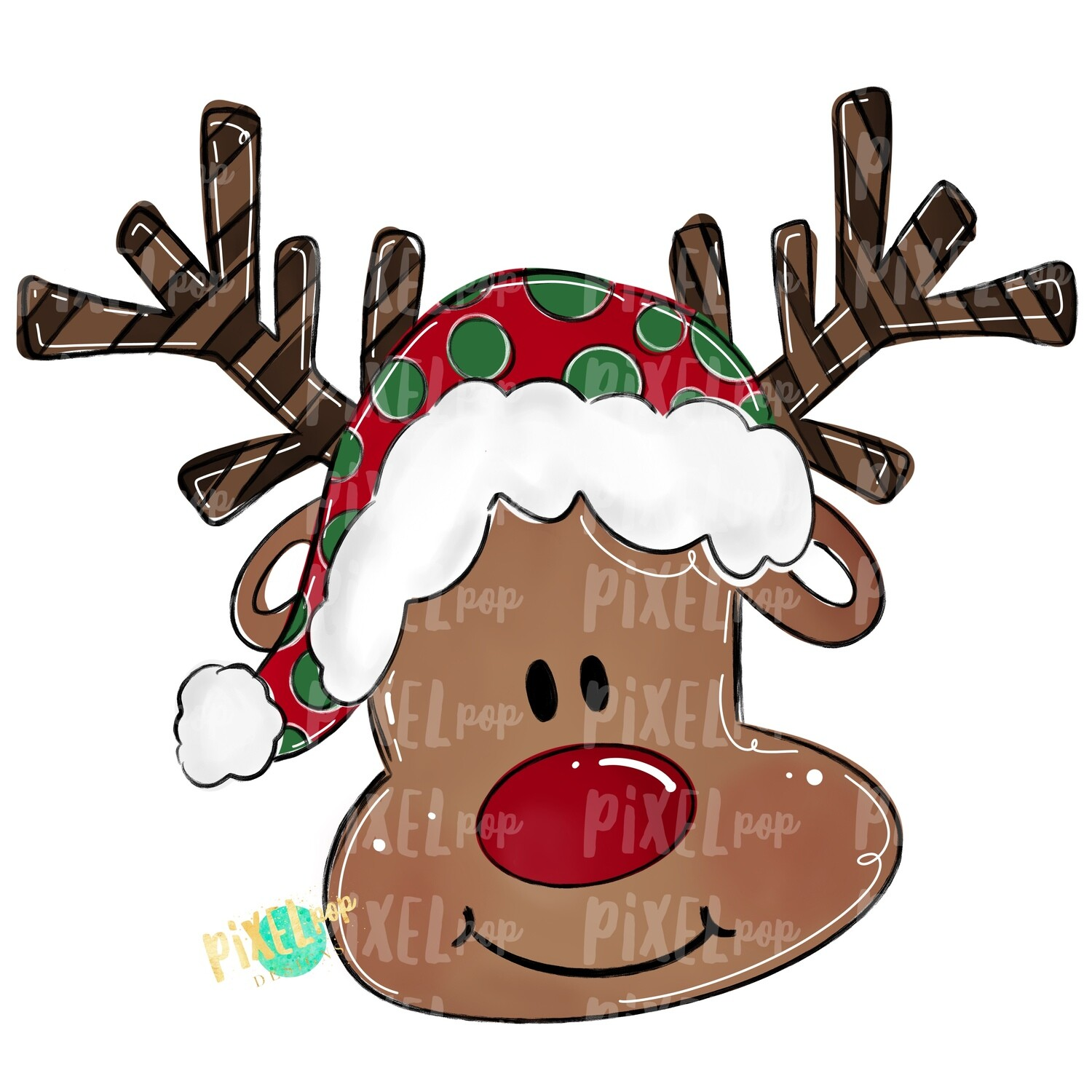 Happy Reindeer PNG  | Christmas Design | Reindeer Art | Hand Painted Art | Sublimation PNG | Digital Download | Printable Artwork | Art