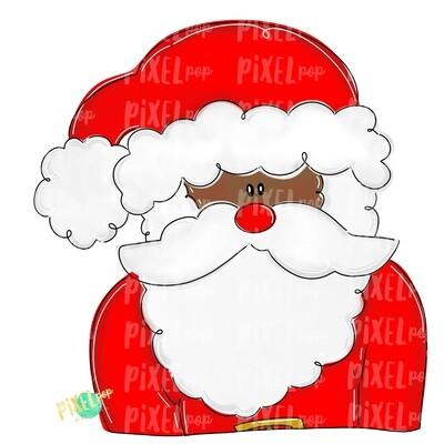Whimsical Santa Claus Dark Skin PNG | Christmas Sublimation Design | Santa | Santa Art | Christmas | Digital Download | Printable Artwork