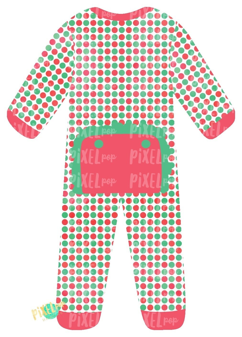 Vintage Dot RUFFLED Bum Flap Pajama Ornament PNG | Christmas Pajama PNG | Christmas Pajamas Sublimation | Christmas | Christmas Clipart