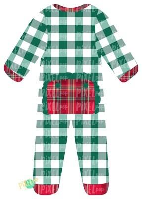 Green Plaid RUFFLED Bum Flap Pajama Ornament PNG | Christmas Pajama PNG | Christmas Pajamas Sublimation | Christmas | Christmas Clipart