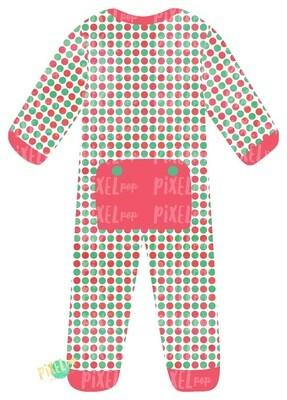 Vintage Dot Bum Flap Pajama Ornament PNG | Christmas Pajama PNG | Christmas Pajamas Sublimation | Christmas | Christmas Clipart